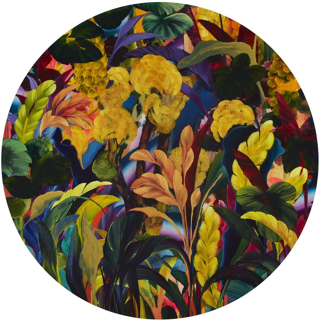 Orlanda Broom  Lizard Tongue  Acrylic on canvas, 100 x 100 x 5 cm  https://orlandabroomartist.com/