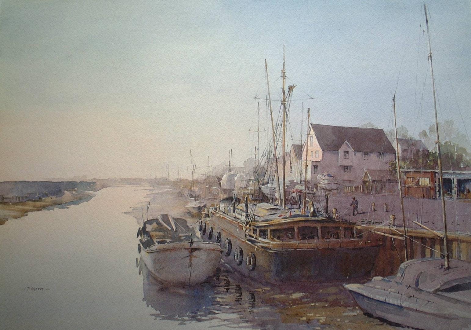 Patsy Moore  Dawn Light at Maldon  Watercolour, 56 x 43 cm  http://www.patsymoore.co.uk