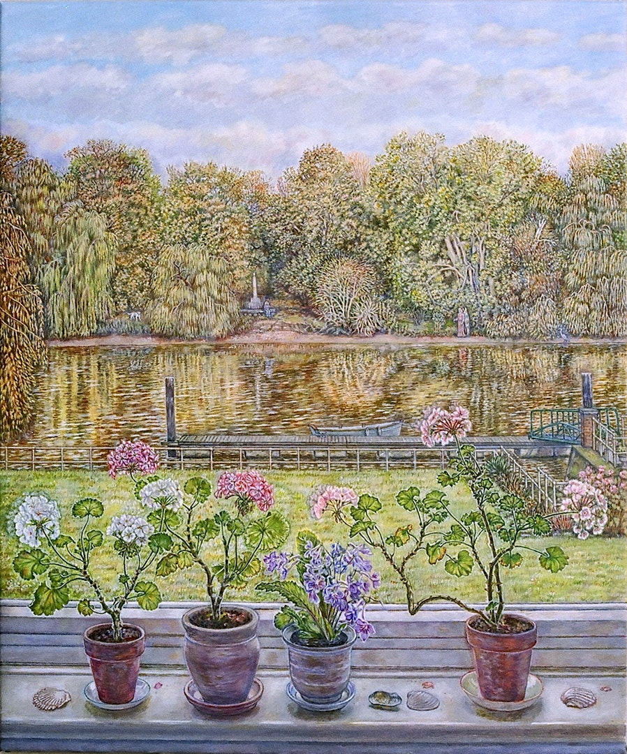Patricia Buckley  Thames View with geraniums and shells  Oils on canvas, 71 x 51 x 2 cm  http://www.patriciabuckley.co.uk