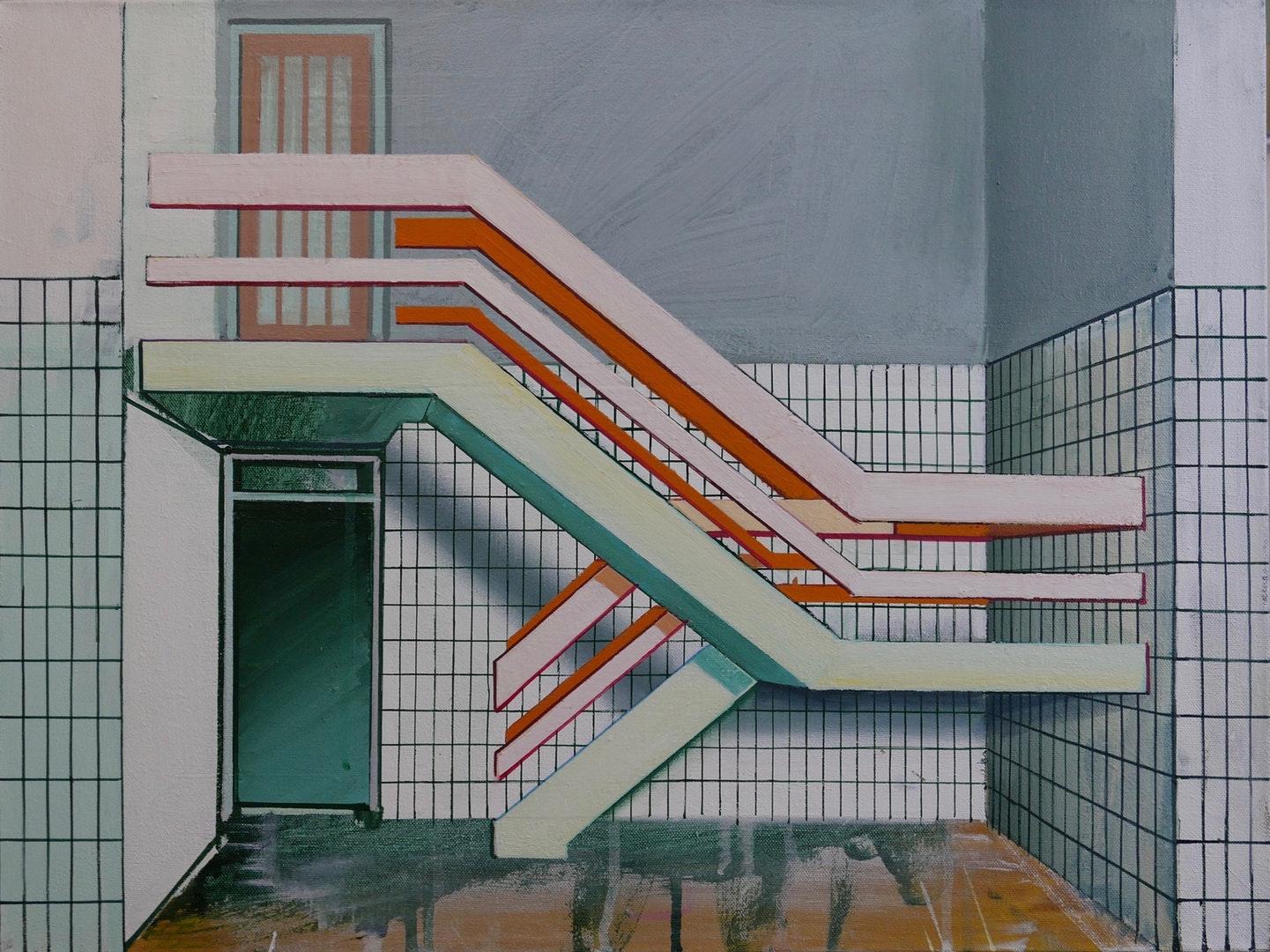 Paul Crook  Stairway  Acrylic on canvas, 60 x 45 cm  http://www.paulcrook.kk5.org