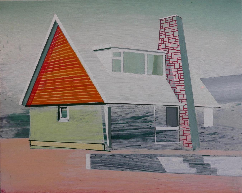 Paul Crook  triangle house  Acrylic on canvas, 38 x 30 cm  http://www.paulcrook.kk5.org