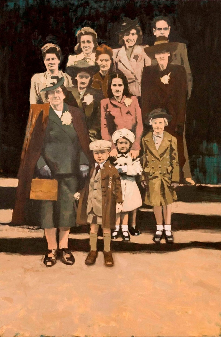 Paul White  Group Photo  Oil on canvas, 198 x 122 x 4 cm