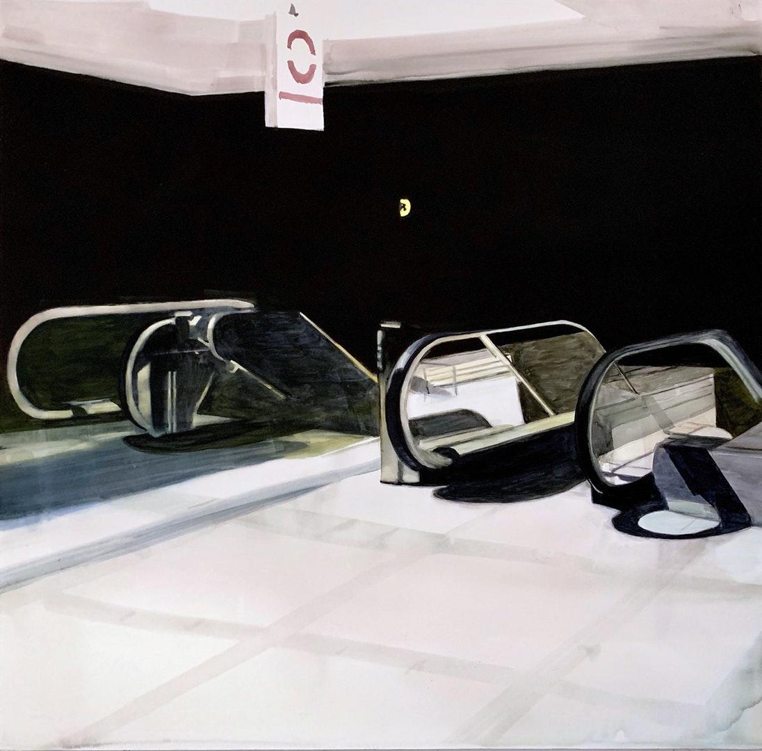 Richard Elliott  Escalator Waterloo  Watercolour, 120 x 120 x 5 cm