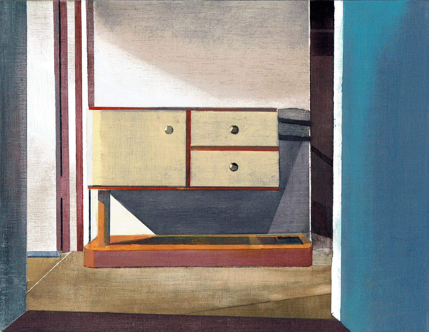 Richard Baker  Hall Stand  Oil on panel, 21 x 27 cm  https://richardbakerpainting.com/