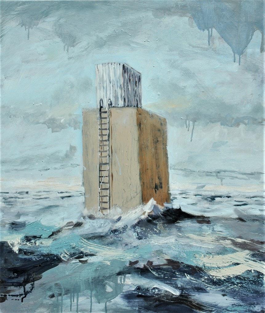 Richard Stevens  Out  Oil on canvas, 70 x 60 x 5 cm  http://www.richardstevens.me.uk