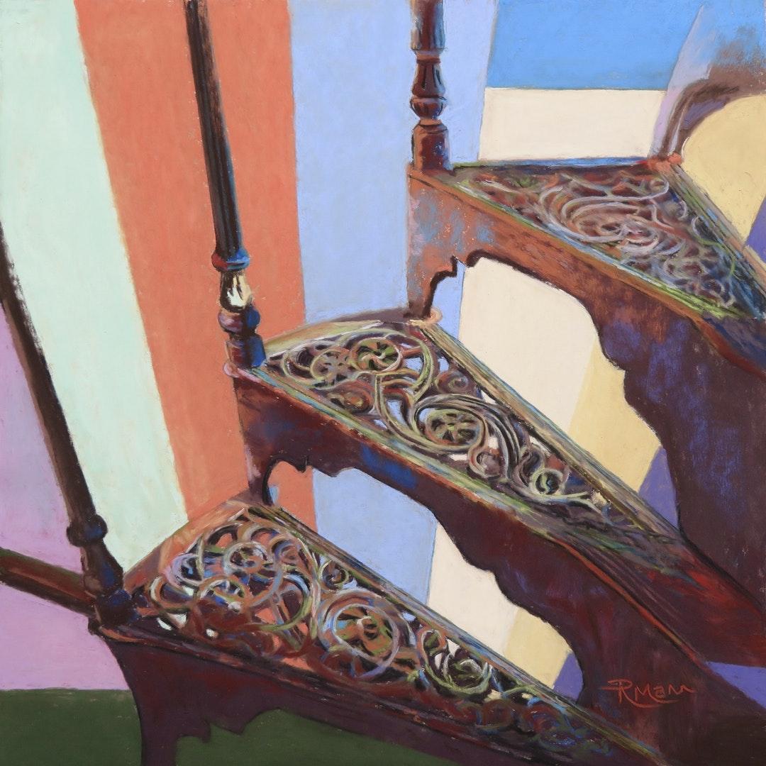 Ruth Mann  3 Steps to Heaven  Soft pastel on paper, 34 x 34 x 1 cm  https://www.facebook.com/RuthMannPastelArt/