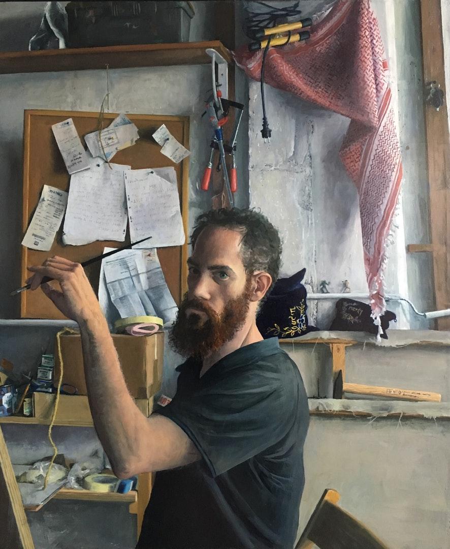 Sam Rahamin  auto portrait, studio in paris 2019  Oil on wood, 103 x 87 x 4 cm  http://www.samrachamin.com