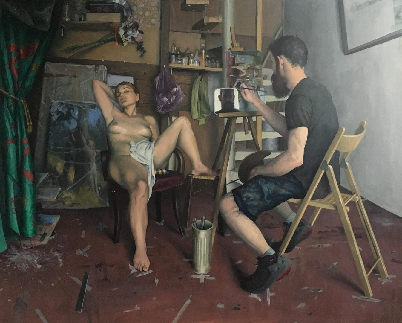 Sam Rahamin  Venus comes to visit my studio  Oil on wood, 113 x 133 x 7 cm  http://www.samrachamin.com