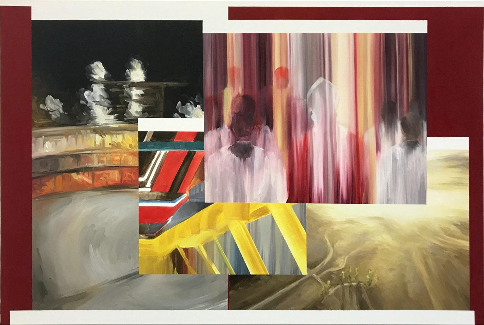 Sebastian Elborn  Pilgrimage to Silicon Valley  Oil on canvas, 60 x 90 x 1.8 cm