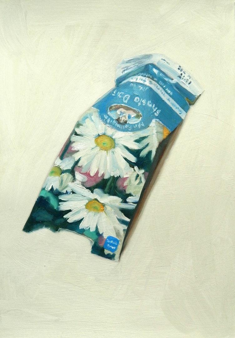 Sheri Gee  Shasta Daisy  Oil on paper, 29.7 x 21 cm  http://www.sherigee.com/wordpress/fine-art/seed-packets/