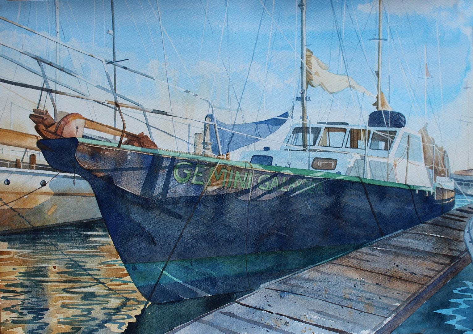 Sophie Penstone  Gemini Galaxsea  Watercolour, 42 x 59 cm  http://www.penstoneart.com