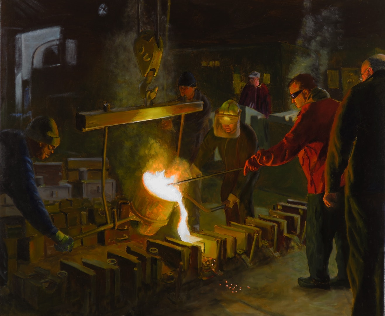 Terry Kent  Casting Steel  Oil on linen, 50 x 60 cm