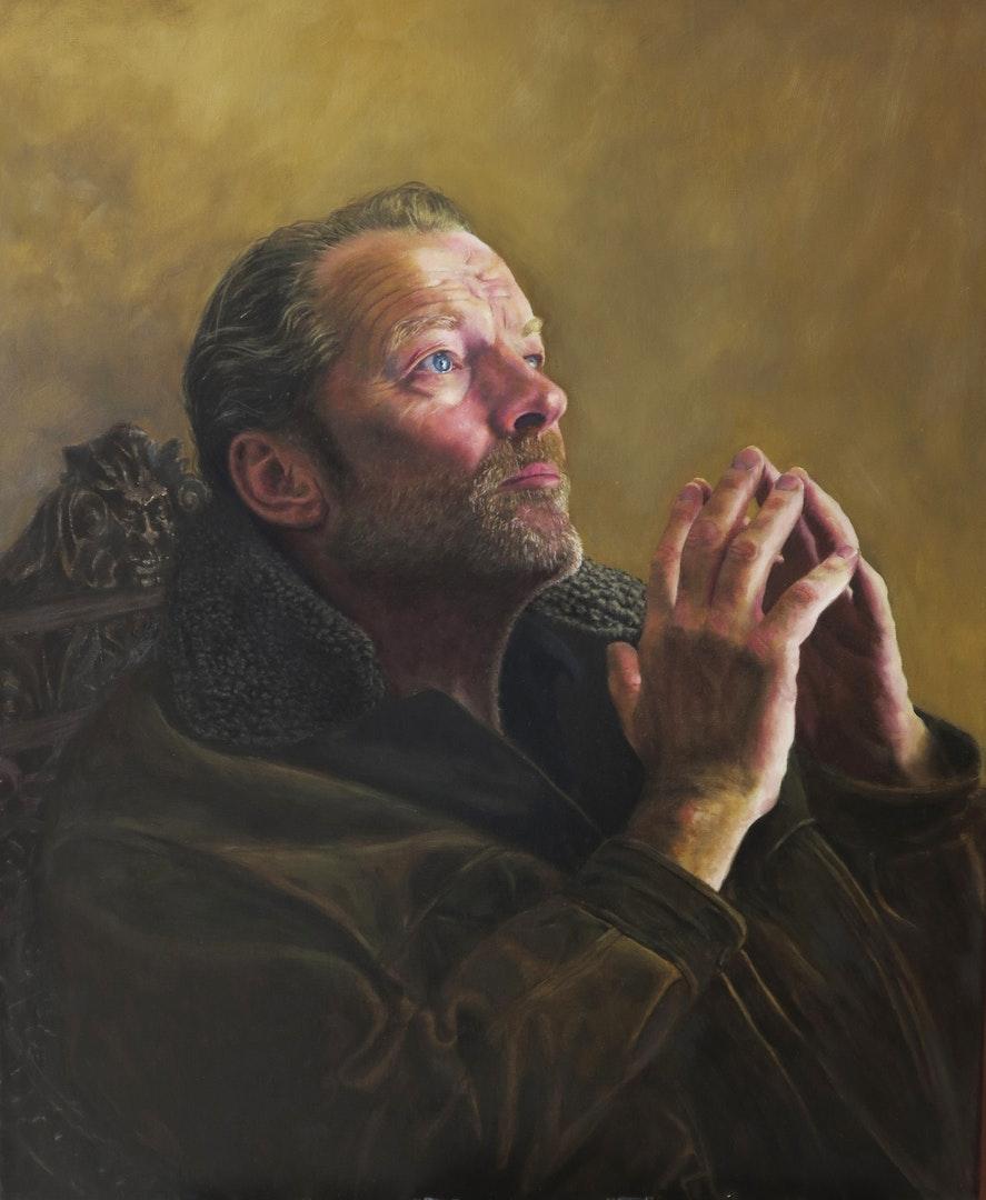 Terry Kent  Iain wearing my jacket  Oil on linen, 75 x 60 cm