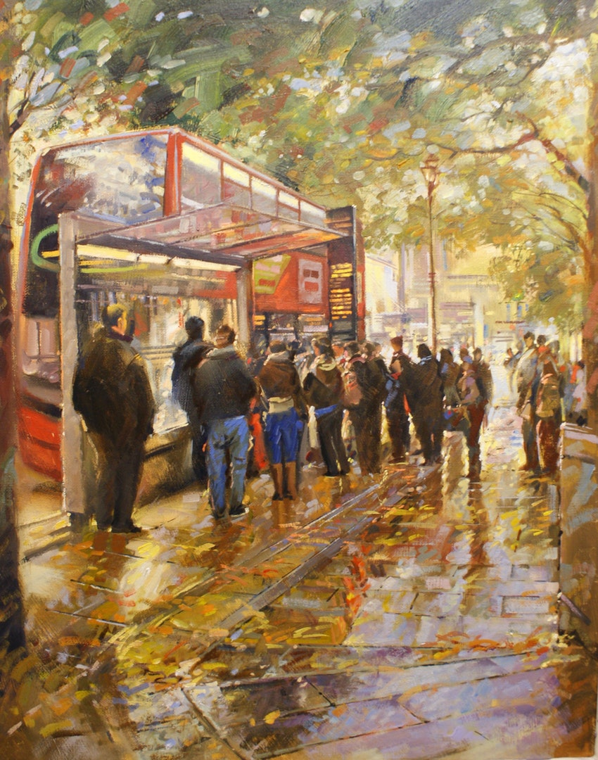 Terry Lord  Queuing For Bus Colmore Row  Oil on canvas, 50 x 40 cm