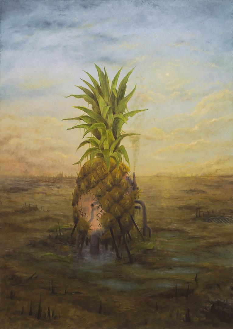 Tomasz Wrobel  Last Pineapple  oil on board, 60 x 42 x 3 cm  http://www.tomasz-wrobel.com