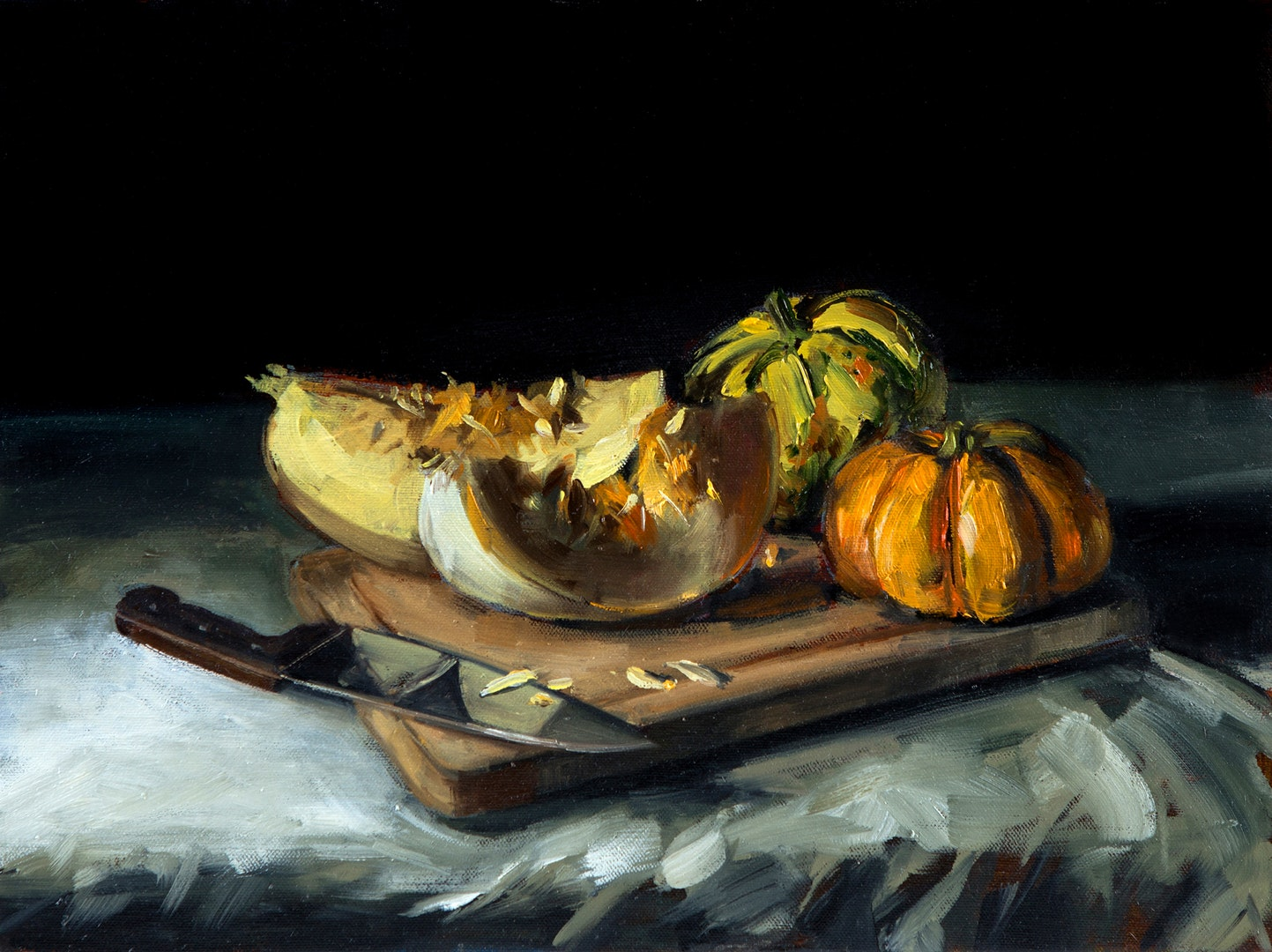 Tushar Sabale  Ghost Pumpkins and Gourds  Oil on canvas board, 50 x 80 x 5 cm  http://www.tusharsabale.com