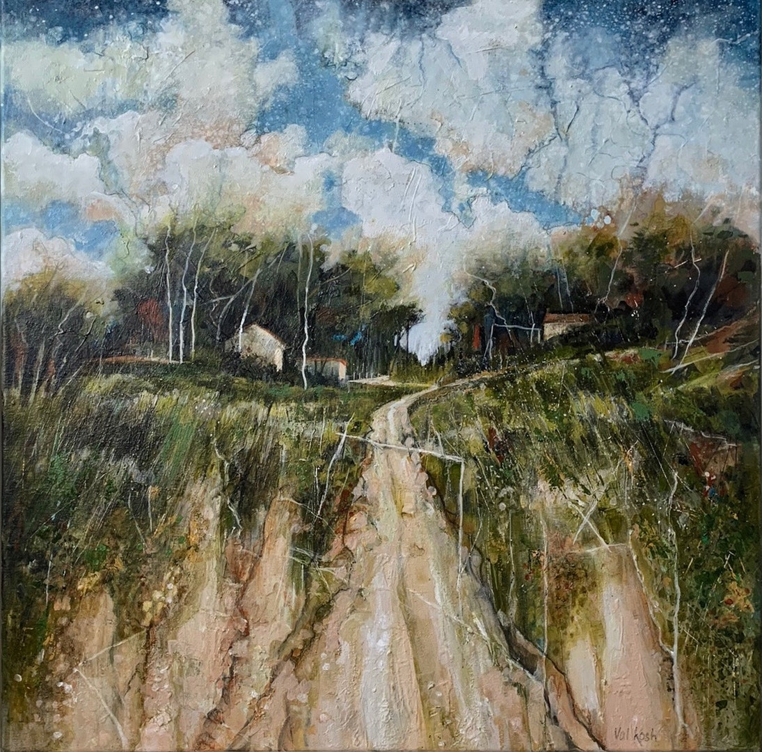 Val Kosh  Ridge Farm  Acrylic on cotton canvas, 60 x 60 x 2 cm
