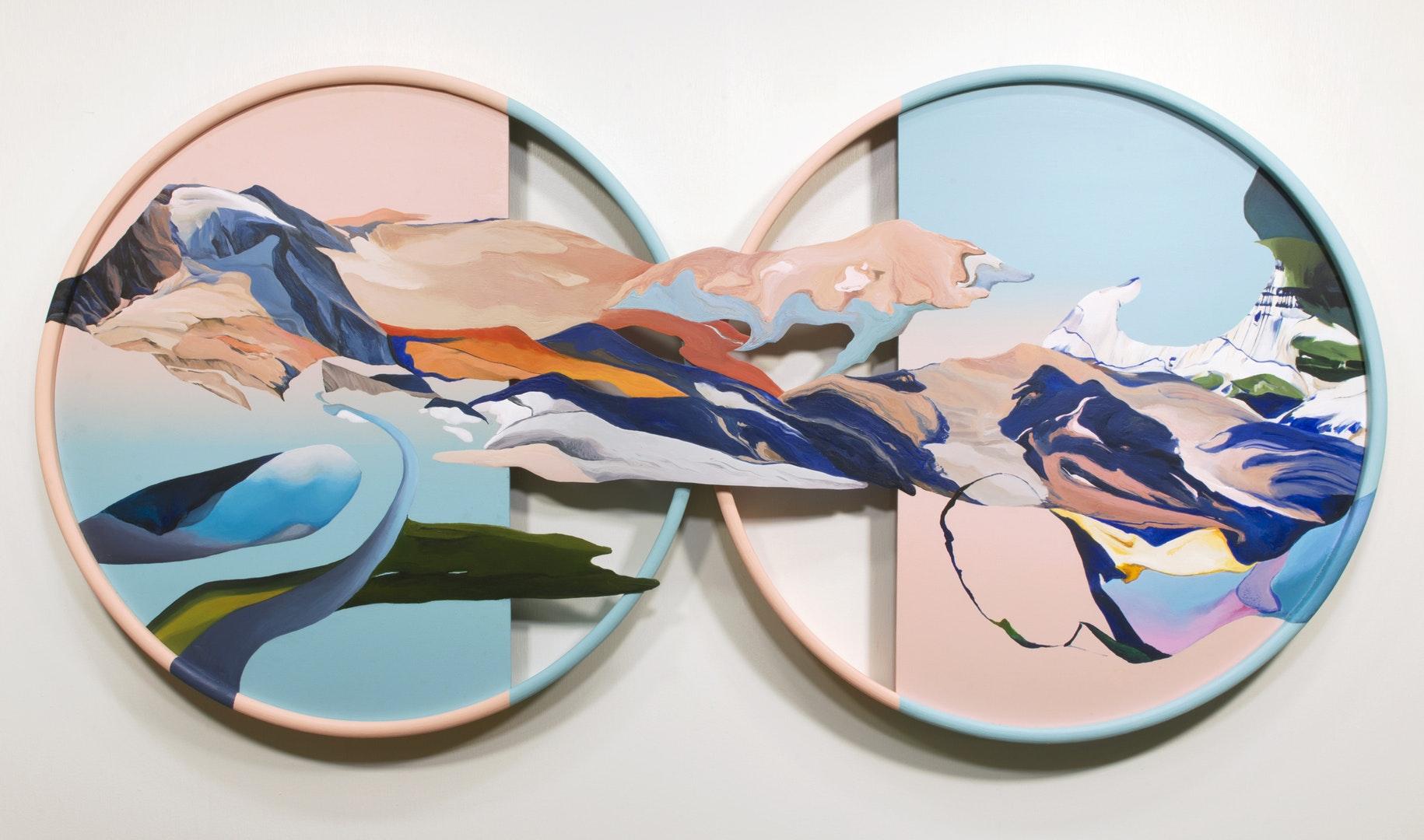 Ziling Wang  An ordinary alternation between sun and moon  Acrylic on wood panel, 50 x 100 x 4 cm  http://www.wangziling.co.uk
