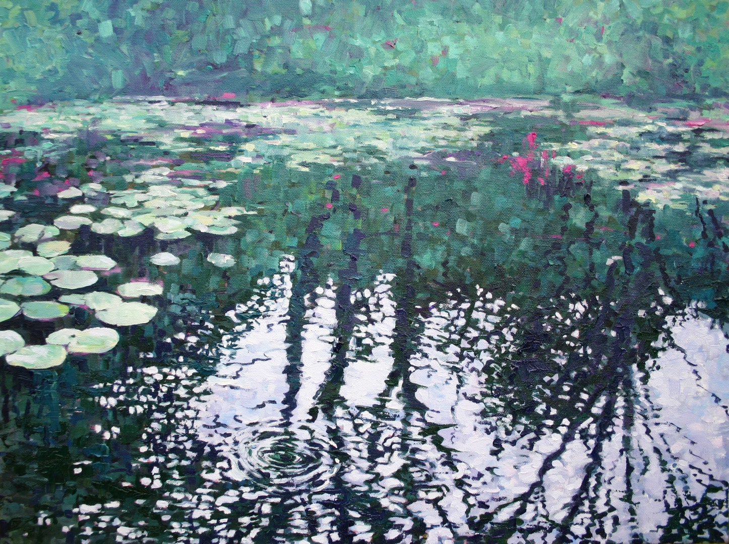 Zoe Norman  Lily Pond Reflections  Oil on stretched cotton canvas, 46 x 61 cm  http://www.zoeelizabethnorman.com