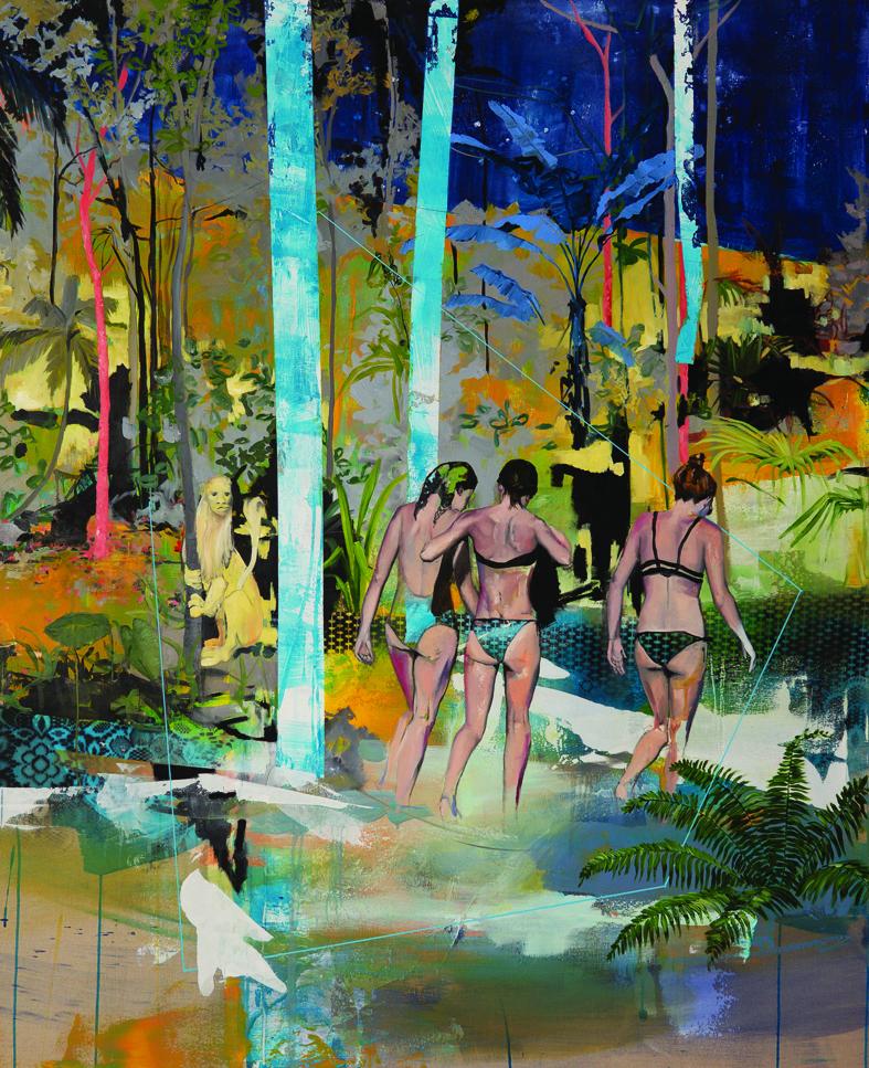 Ludovic Thiriez  ...Pendant que le lion n'y est pas  Oil, acrylic, ink, on linen canvas, 170 x 140 cm  http://www.ludovic-thiriez.com