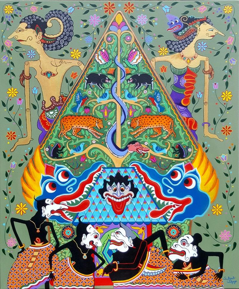 Sudjadi Widjaja  When Arjuna met Srikandi  Acrylic on canvas, 120 x 100 x 4 cm