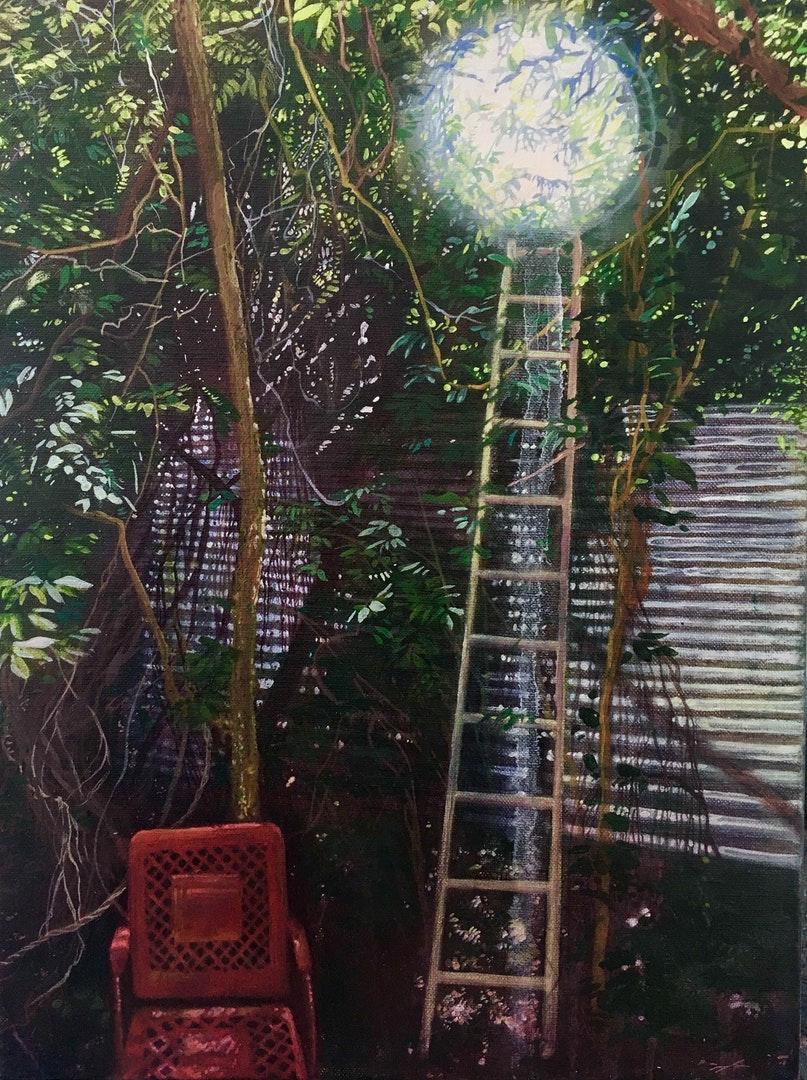 Lara Cobden  Spilt Moonlight  Oil on linen, 40 x 30 x 2 cm  https://laracobden.com/