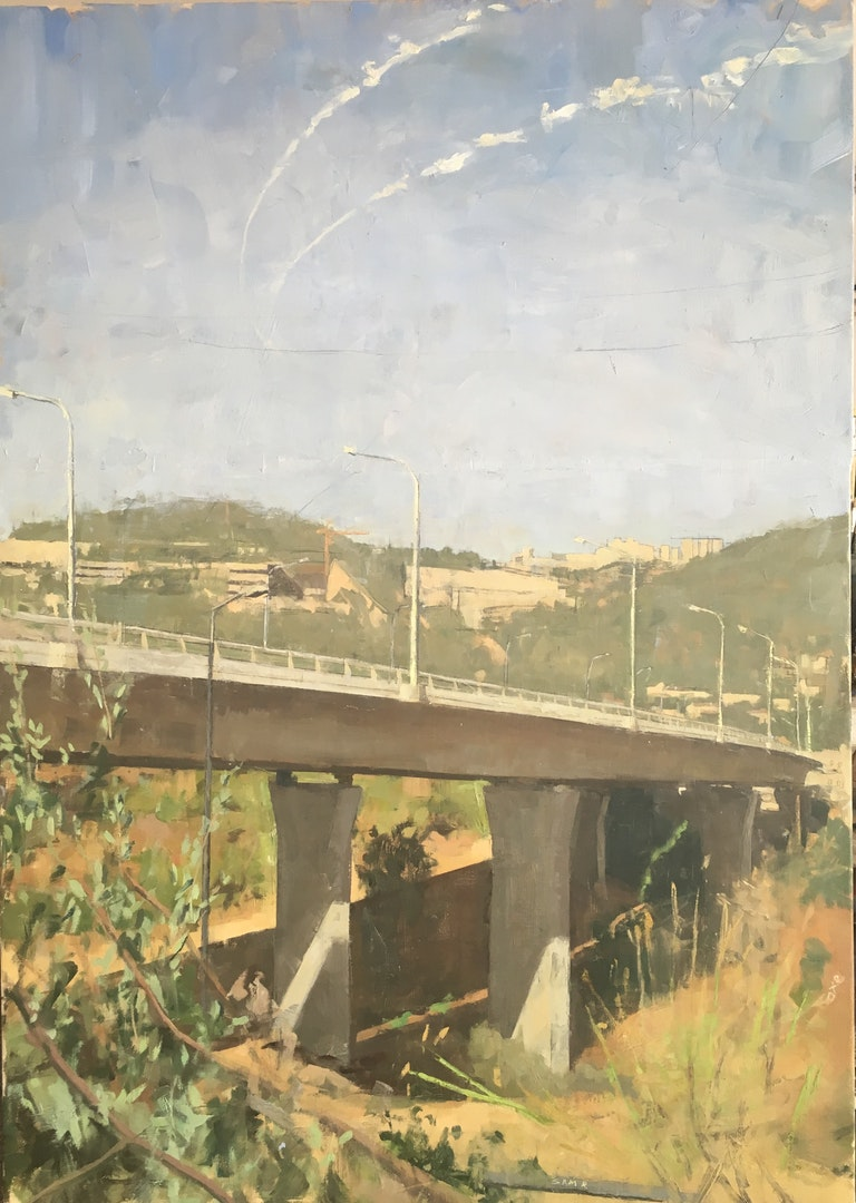 Sam Rahamin  the new bridge to jerusalem  Oil on linen, 107 x 75 x 4 cm  http://www.samrachamin.com/landscapes