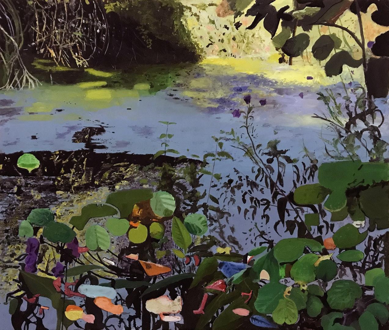 Iain Nicholls,  Elsecar Canal,  Oil on canvas, 91 x 122 x 3 cm,  http://www.iain-nicholls.com
