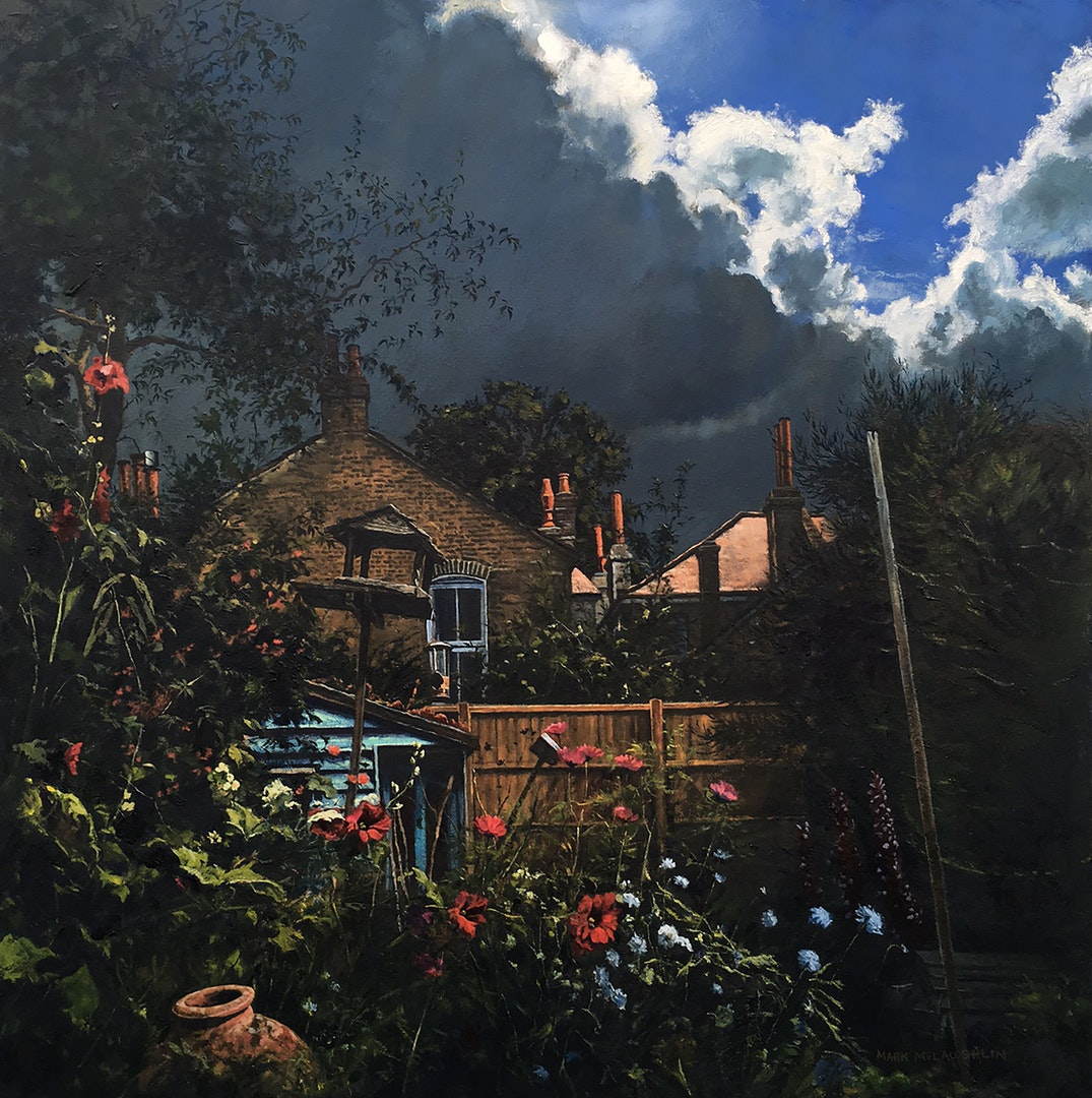 Mark McLaughlin,  Fin's garden,  Oil on canvas, 76 x 76 cm,  http://www.markmclaughlinartist.co.uk