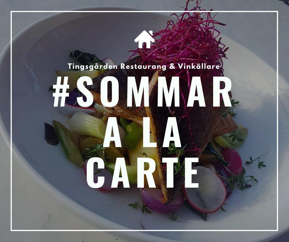 Sommar A la carte meny på Tingsgården Restaurang & Vinkällare. Klick på bilden eller på mer info för att läsa om vår populära meny eller boka ett bord direkt och njut av vår goda mat.