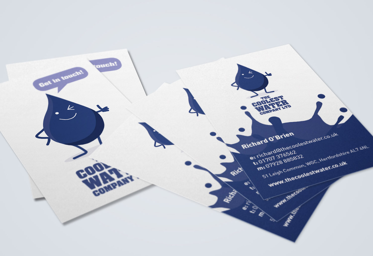 Portfolio project: The Coolest Water Ltd business cards | Beehive Green Design Studio