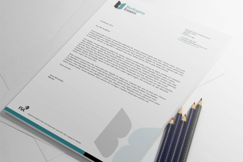 Portfolio project: Burlington Estates letterhead | Beehive Green Design Studio