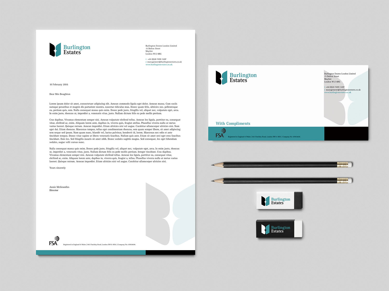 Portfolio project: Burlington Estates stationery | Beehive Green Design Studio