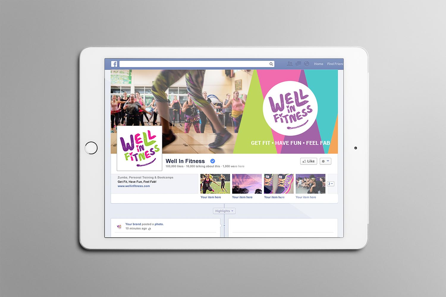 Portfolio project: Well In Fitness Facebook cover profile image | Beehive Green Design Studio