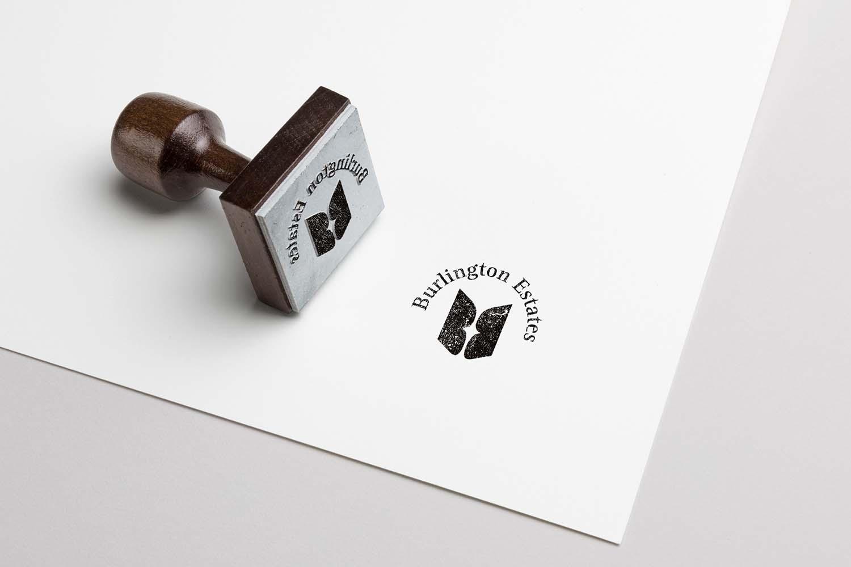 Portfolio project: Burlington Estates stamp | Beehive Green Design Studio