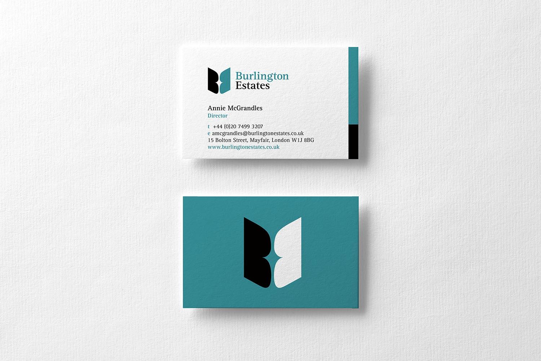 Portfolio project: Burlington Estates business card | Beehive Green Design Studio