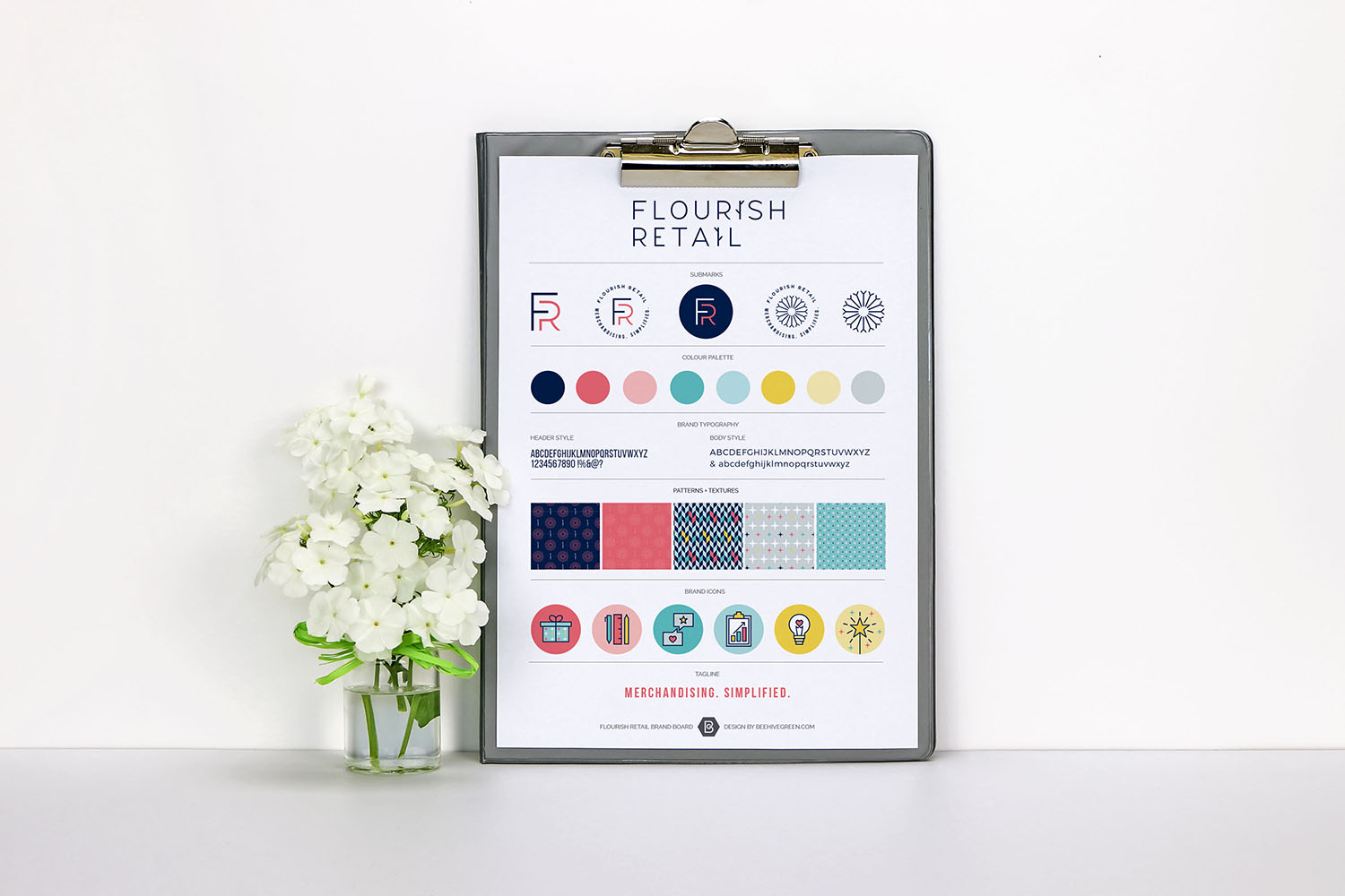 Portfolio project: Flourish Retail brand board | Beehive Green Design Studio