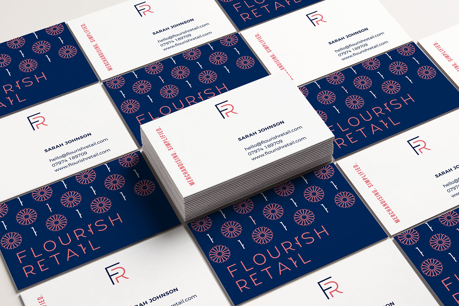 Portfolio project: Flourish Retail logo and business card design | Beehive Green Design Studio