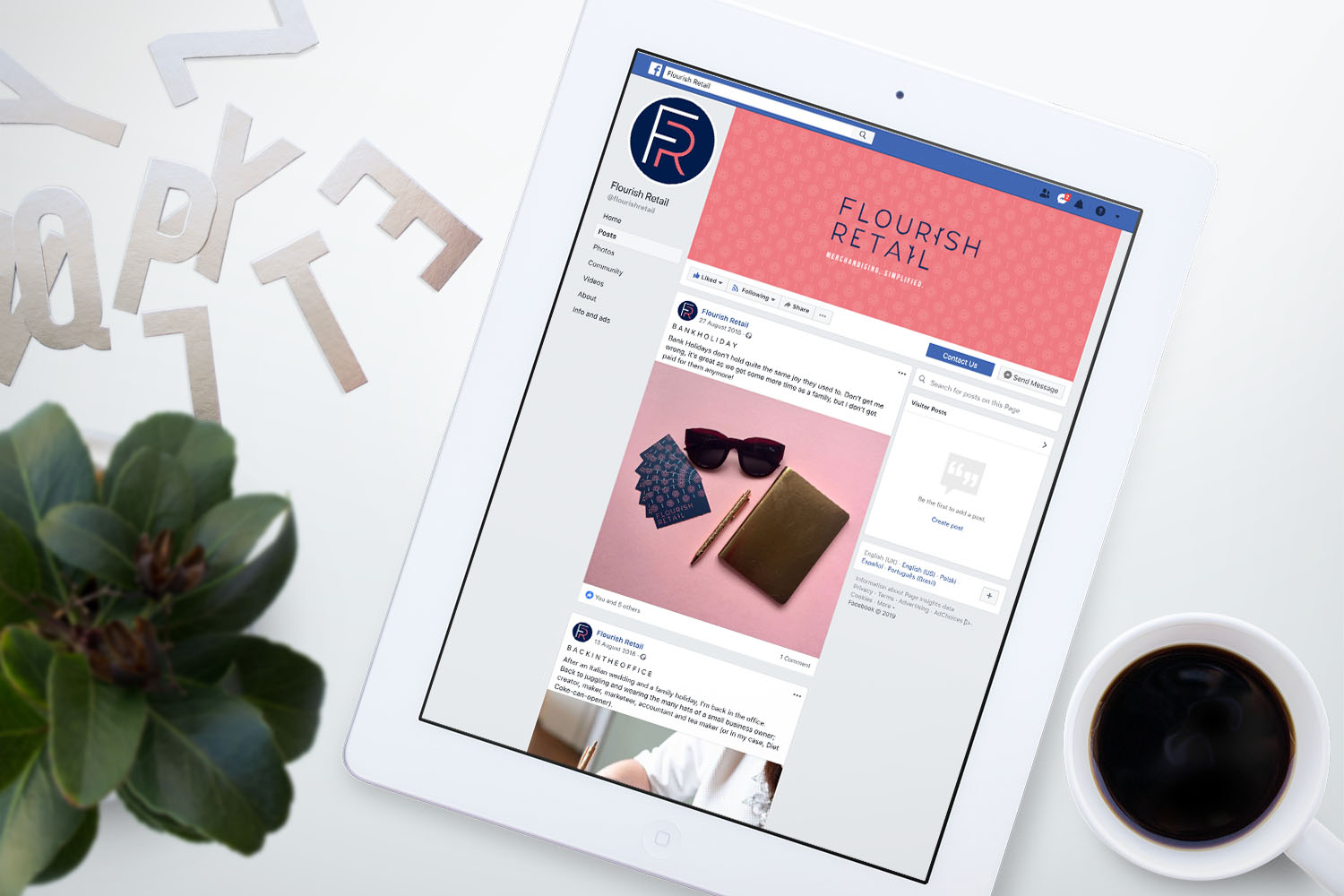 Portfolio project: Flourish Retail Facebook cover social profile design | Beehive Green Design Studio