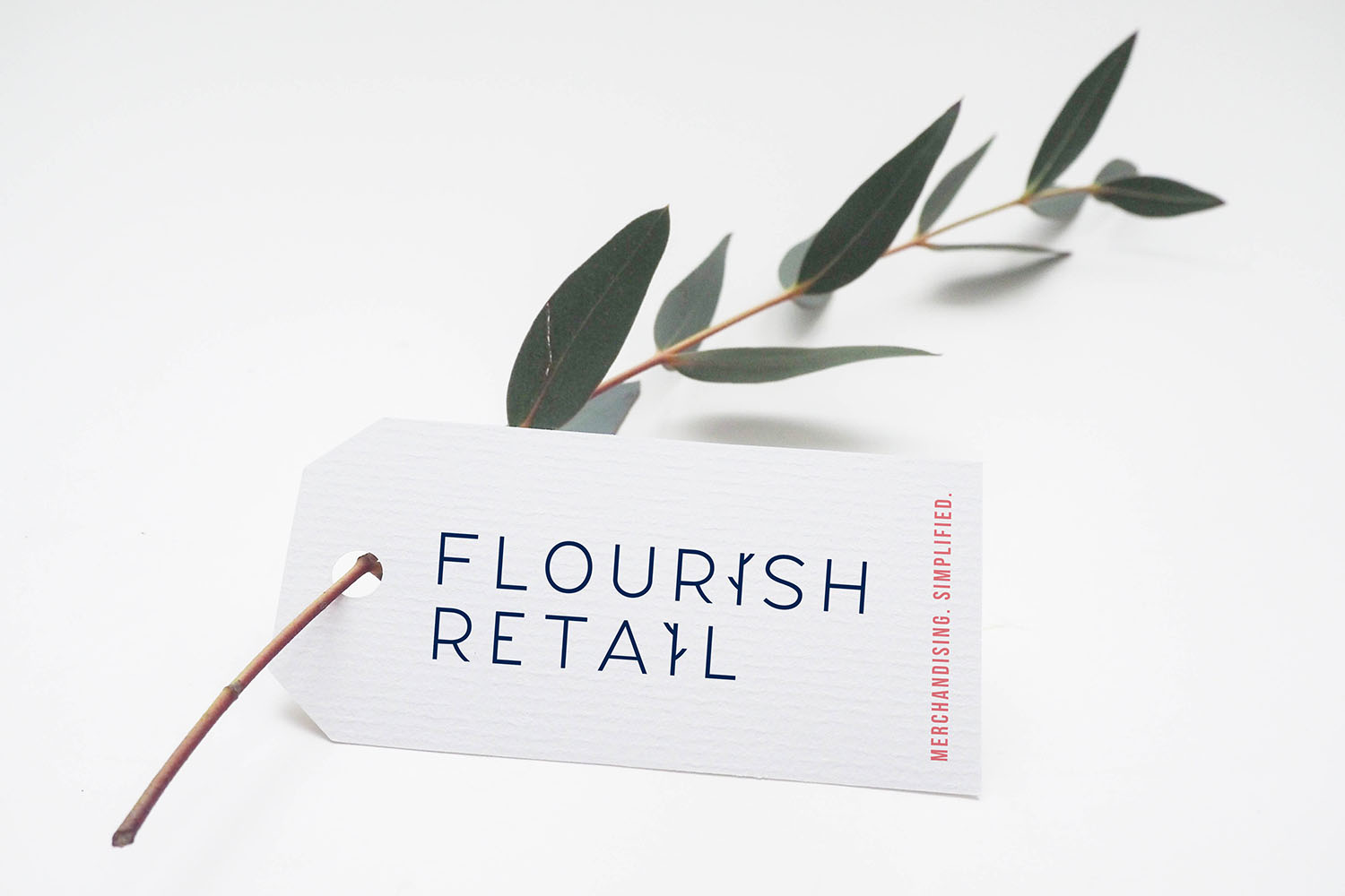 Portfolio project: Flourish Retail swing label design | Beehive Green Design Studio