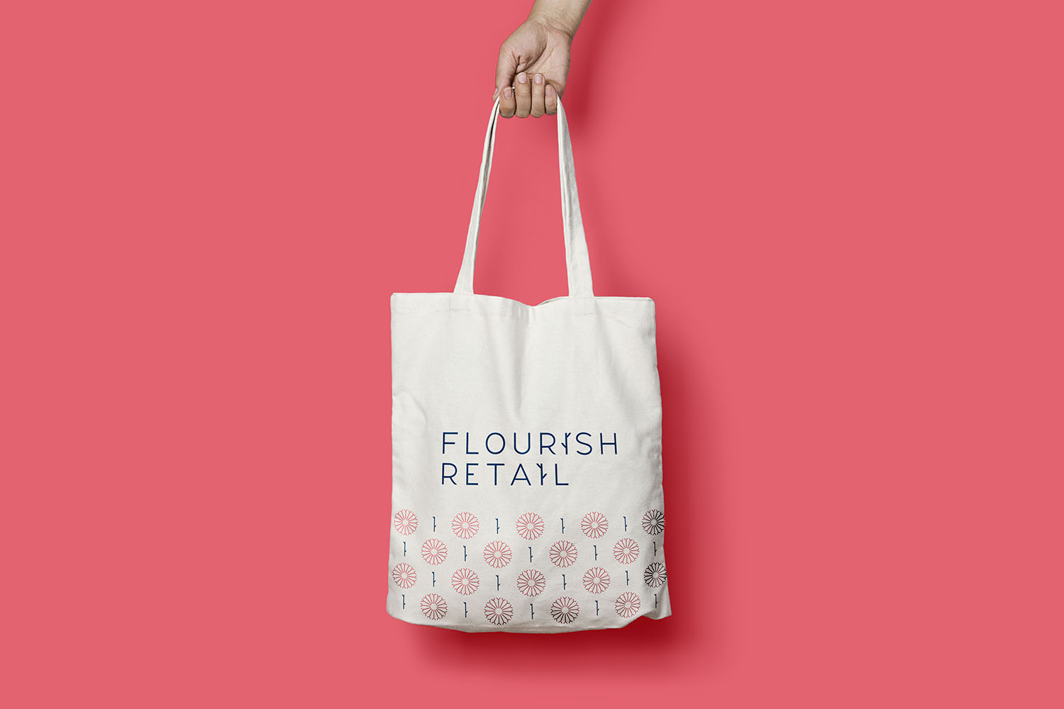 Portfolio project: Flourish Retail canvas bag design | Beehive Green Design Studio