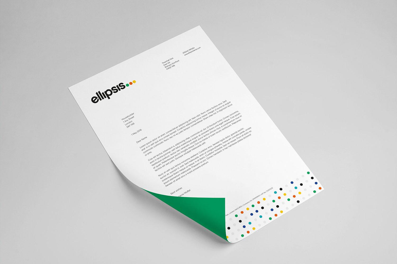 Portfolio project: Ellipsis letterhead design | Beehive Green Design Studio