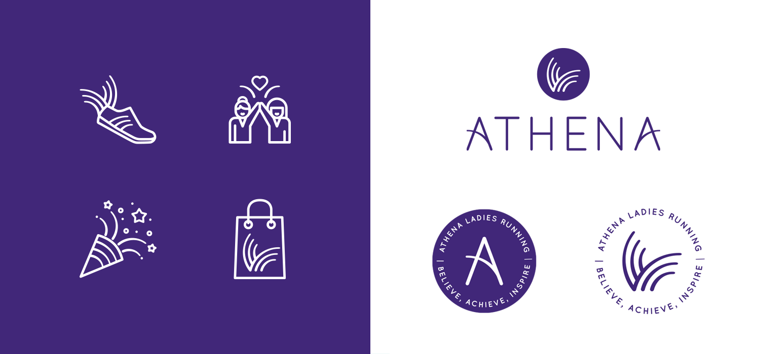 Portfolio project: Athena logo, submarks and icons | Beehive Green Design Studio