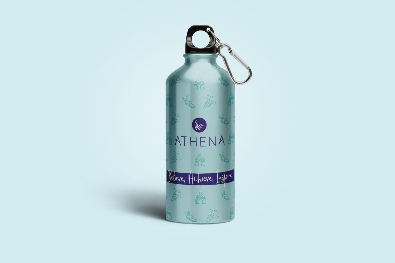 Portfolio project: Athena drinks bottle mockup   Beehive Green Design Studio