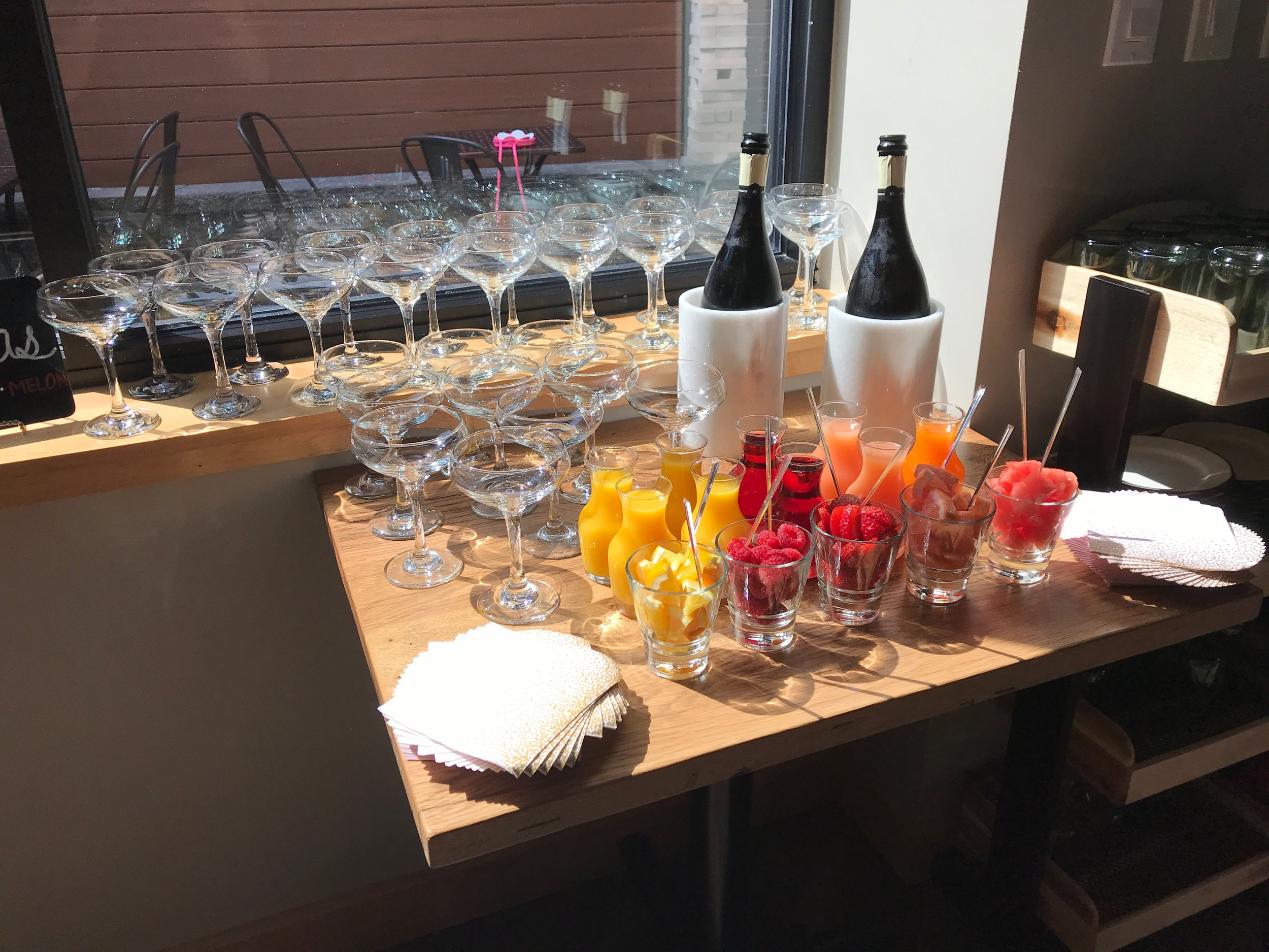 The Stones Bubbly Buffet - Our self-serve mimosa bar is a wonderful addition to any event!