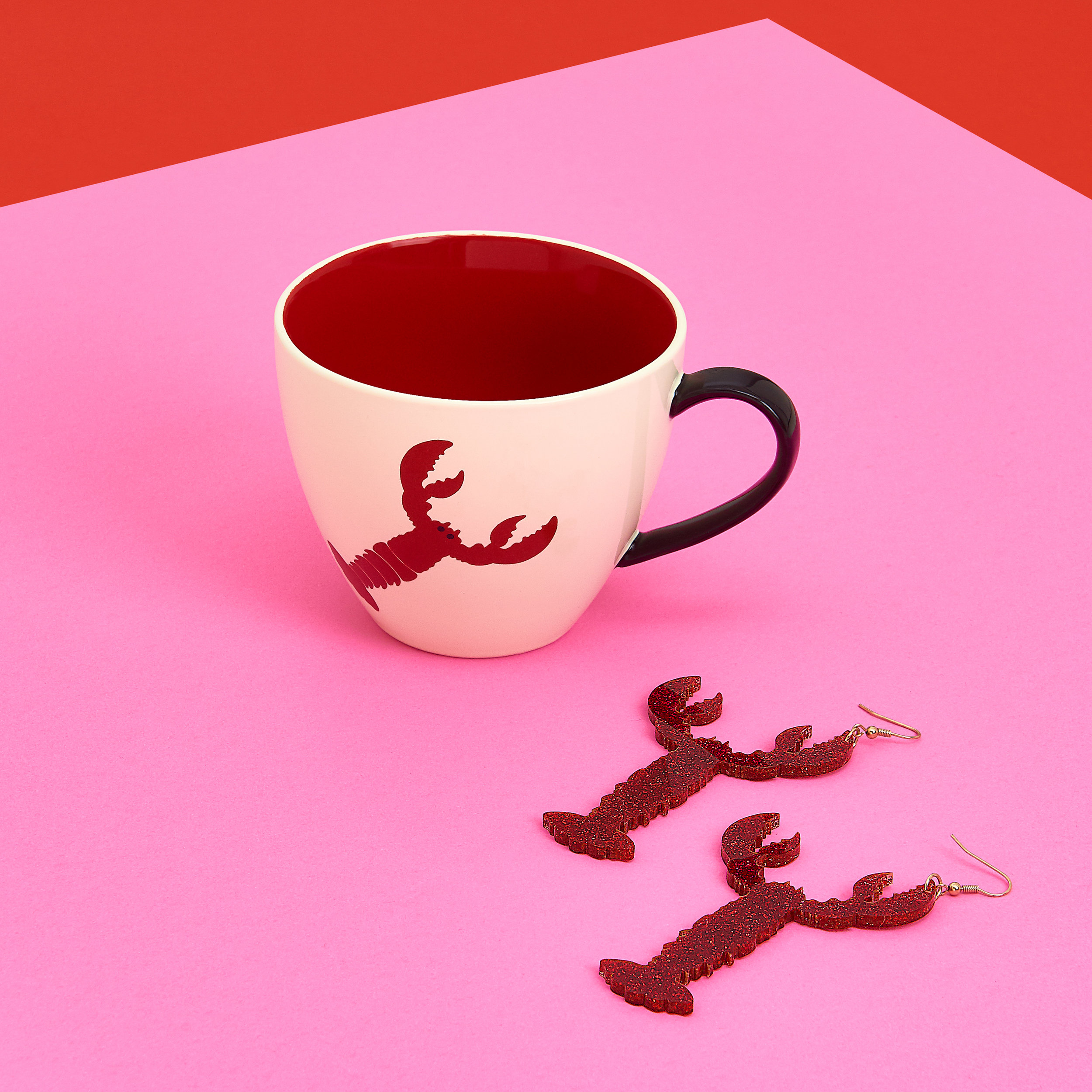 Lobster Mug + Lobster Earrings - Glitter Red.jpg