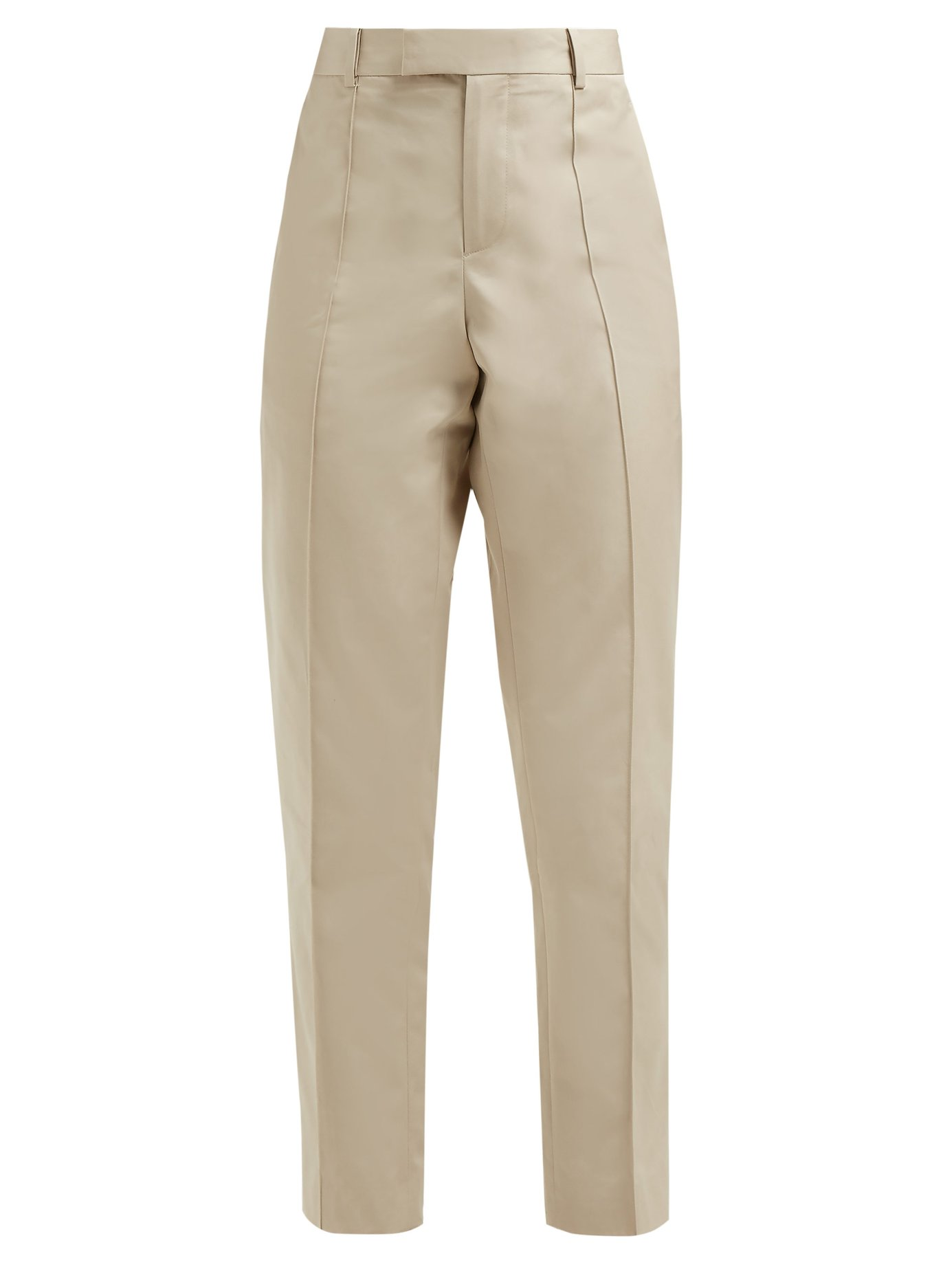 Pintucked cotton-poplin straight-leg trousers