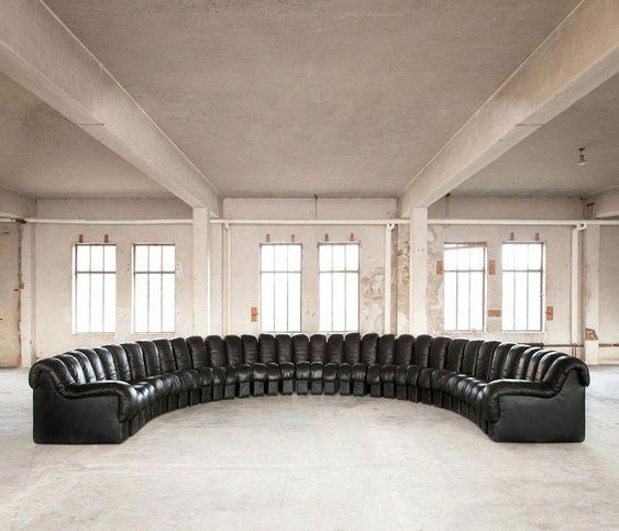 34 Piece De Sede DS600 Sofa in Original Black Leather