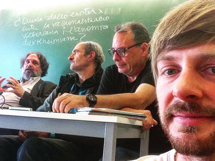 Jordi Planas, Ramón Feiner, Tomás Santiago y Andrew Funk dando una clase en la URV (Tarragona) gracias a una invitación de Oliver Klein.