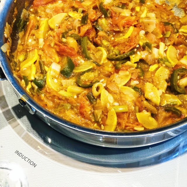 vegan stew - i whipped up this spaghetti squash sauce, or solo veggie stew { taking recipe name suggestions👇🏻} from the imperfectproduce left in my fridge on a friday & it turned out mighty fine & free of gluten, dairy, meat, nuts or artificial anything 🙌🏻...................................................................sauté a chopped white onion in some primalkitchenfoods avocado oil + 2-3 chopped tomatoes 🍅 ( i kept mine pretty chunky) + one diced yellow zucchini + 2 sliced jalapeños + 2 green onions + some fresh squeezed lime & let simmer for a good 30-45 minutes + some redmondrealsalt seasoning and enjoy alone or on top of your favorite pasta, veggie or protein👌🏻- xoxojackie